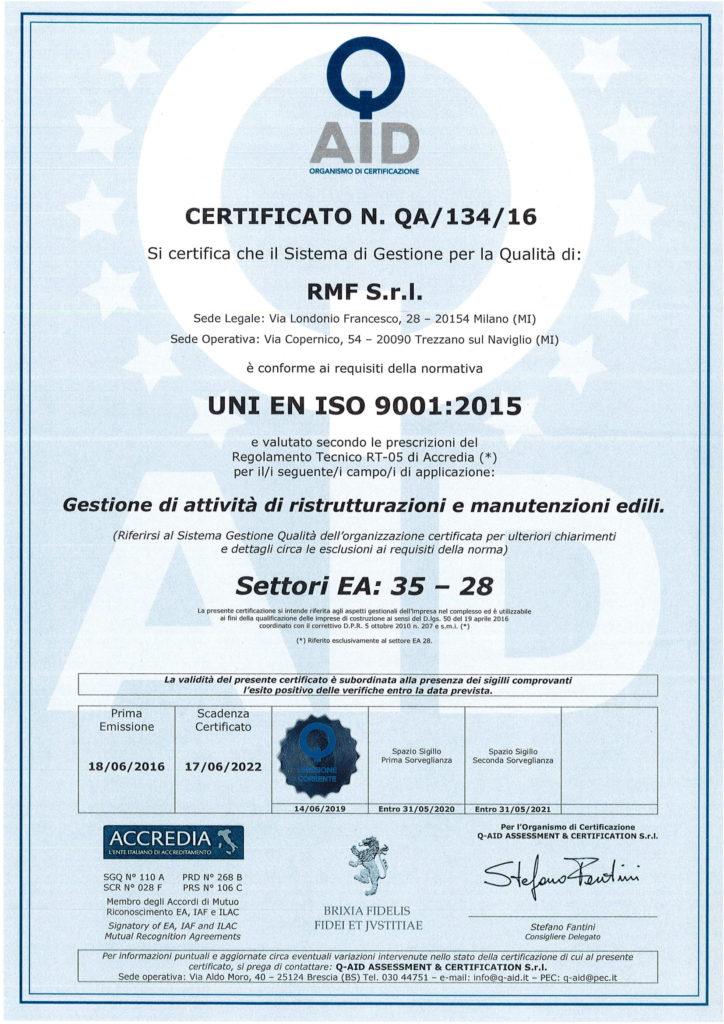 Certificato QA 134 16-1
